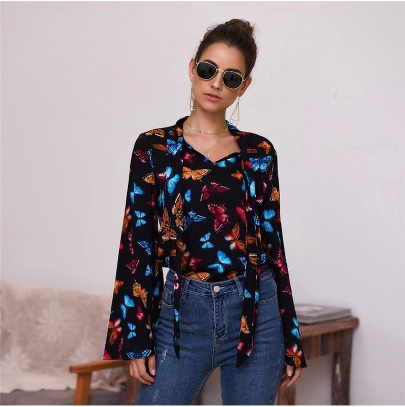 Boho Holiday Women Tops Shirt Elegant Long Sleeve Floral Shirt Ladies Long Sleeve V Neck Loose T shirt Streetwear - Tops