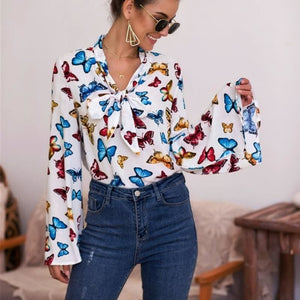 Boho Holiday Women Tops Shirt Elegant Long Sleeve Floral Shirt Ladies Long Sleeve V Neck Loose T shirt Streetwear - White / S - Tops