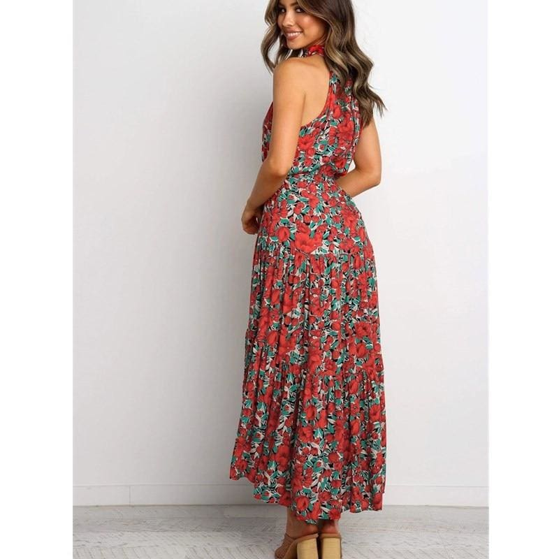 The Best Boho Maxi Floral Dress Summer Ladies Sleeveless Halter Neck Casual Holiday Party Long Flower Dress Online - Hplify