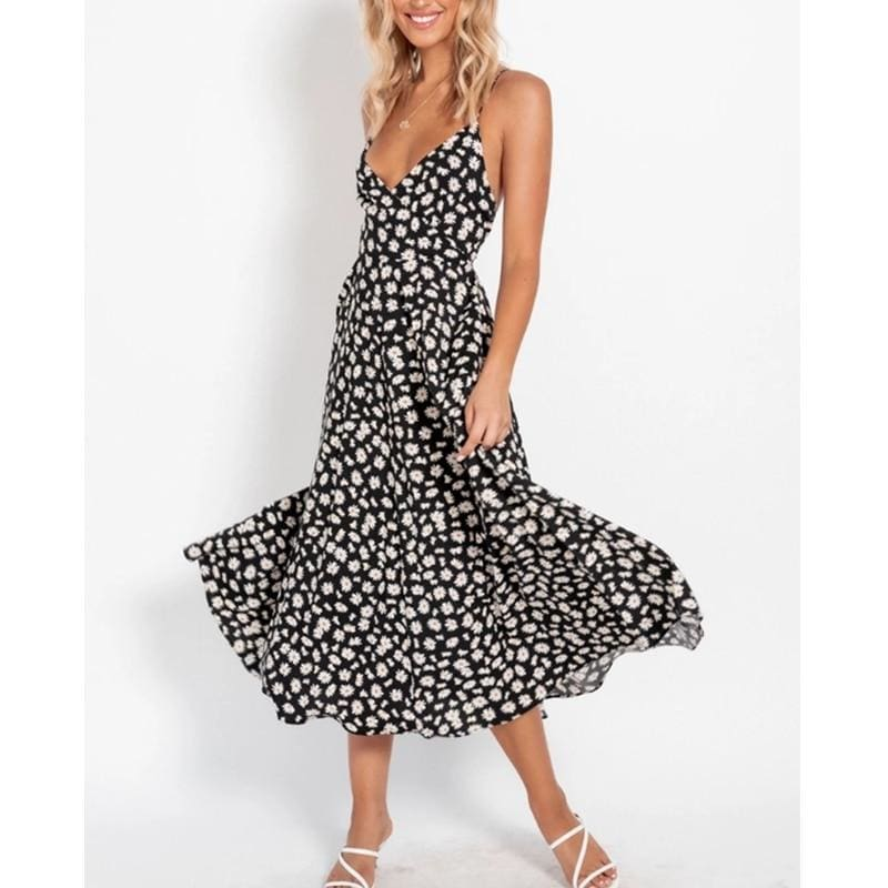 Buy Cheap Boho Print Maxi Dress Sleeveless Evening Party Beach Dress V-Neck Sundress Backless Online - Hplify