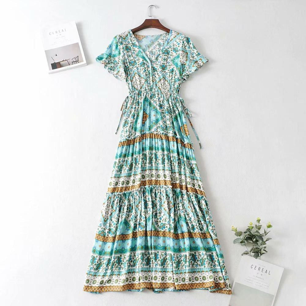 The Best Boho Print Slinky Dress Ladies Expansion Skirt Lace-Up V-neck One-Piece Dress Short Sleeve Tight Dress Online - Source Silk