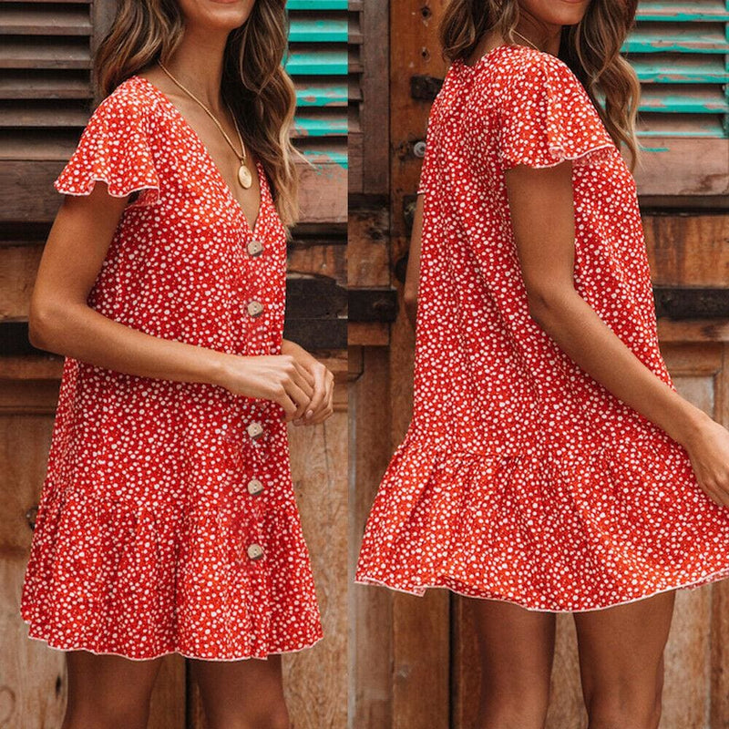 The Best Boho Short Mini Sundress Beach Holiday Party Fashion Ladies Short Sleeve Loose Dresses Online - Hplify