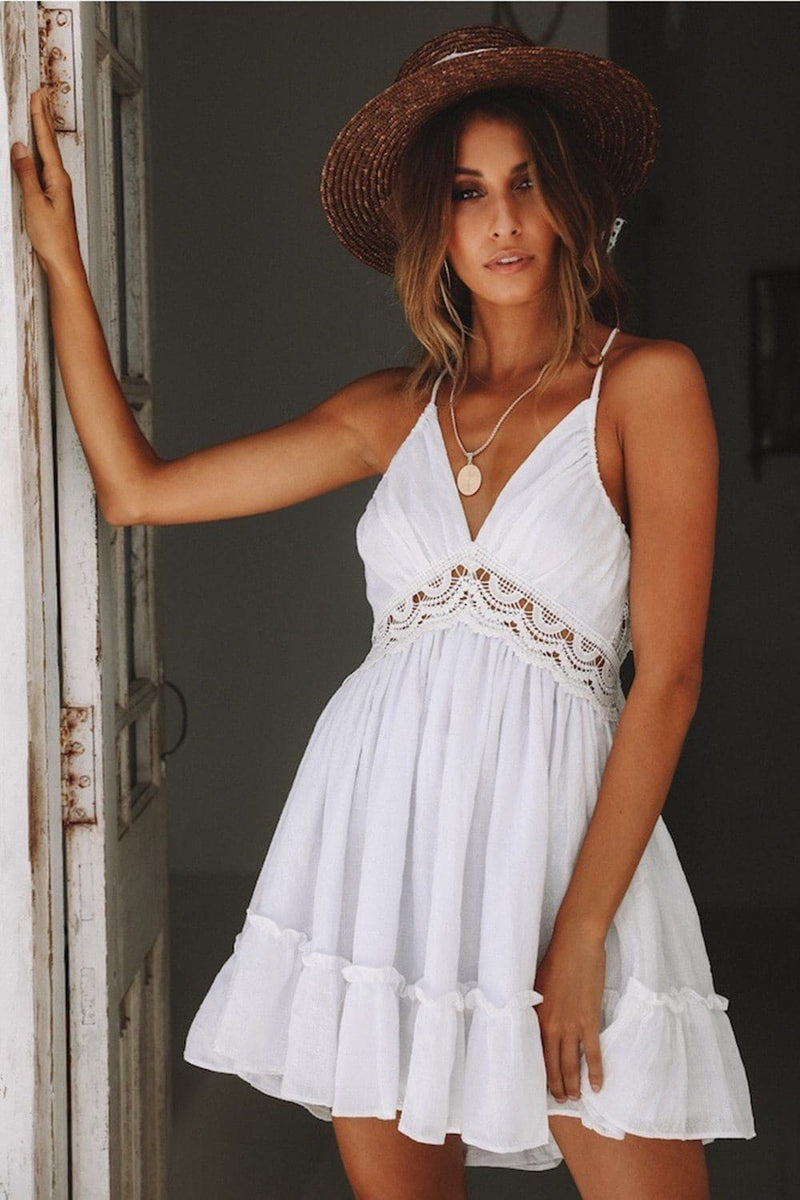 The Best Boho Vrouwen Jurken Spaghetti Strap Backless Elegante Beach Zonnejurk Online - Source Silk