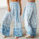 The Best Boho Women Baggy Harem Pants Hippie Wide Leg Gypsy Palazzo High Waist Loose Wide Leg Trousers Flared Bell Bottoms Online - Source Silk