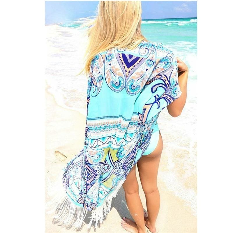 The Best Boho Women Beach Swimwear Bikini Beach Wear Cover Up Ladies Kaftan Summer Shirt Dress Holiday Bikini Blouse Online - Source Silk