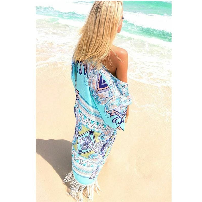 The Best Boho Women Beach Swimwear Bikini Beach Wear Cover Up Ladies Kaftan Summer Shirt Dress Holiday Bikini Blouse Online - Hplify