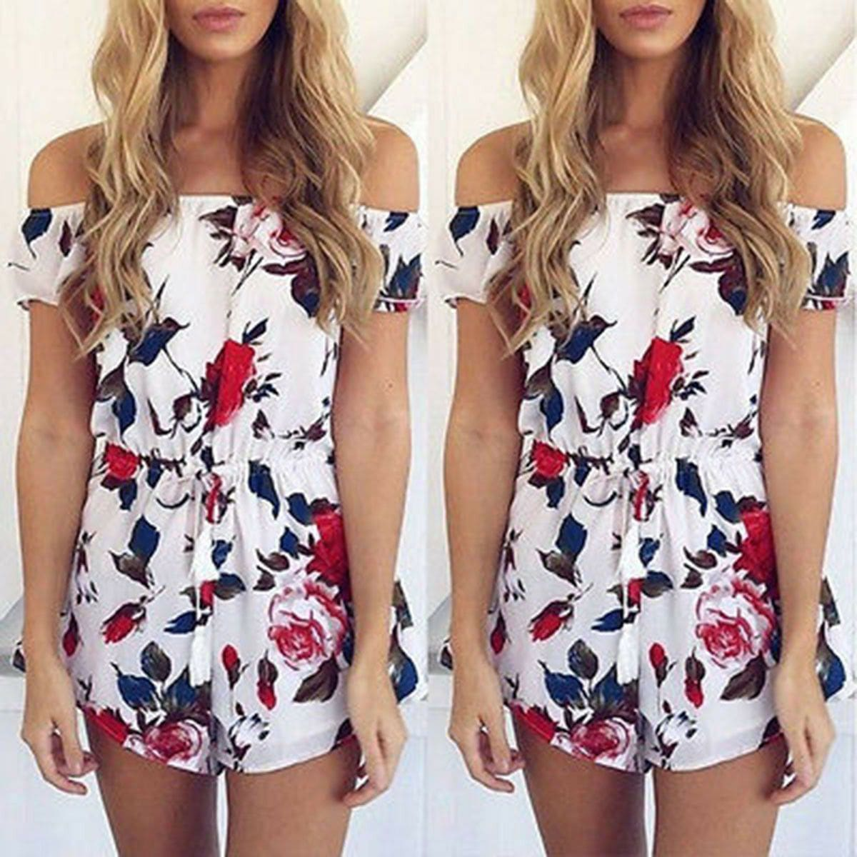 The Best Boho Women Holiday Mini Playsuit Ladies Floral Off Shoulder Bodycon Summer Holiday Casual Beach Jumpsuit Short Romper Online - Source Silk