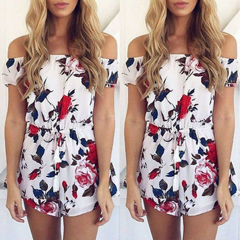 The Best Boho Women Holiday Mini Playsuit Ladies Floral Off Shoulder Bodycon Summer Holiday Casual Beach Jumpsuit Short Romper Online - Hplify