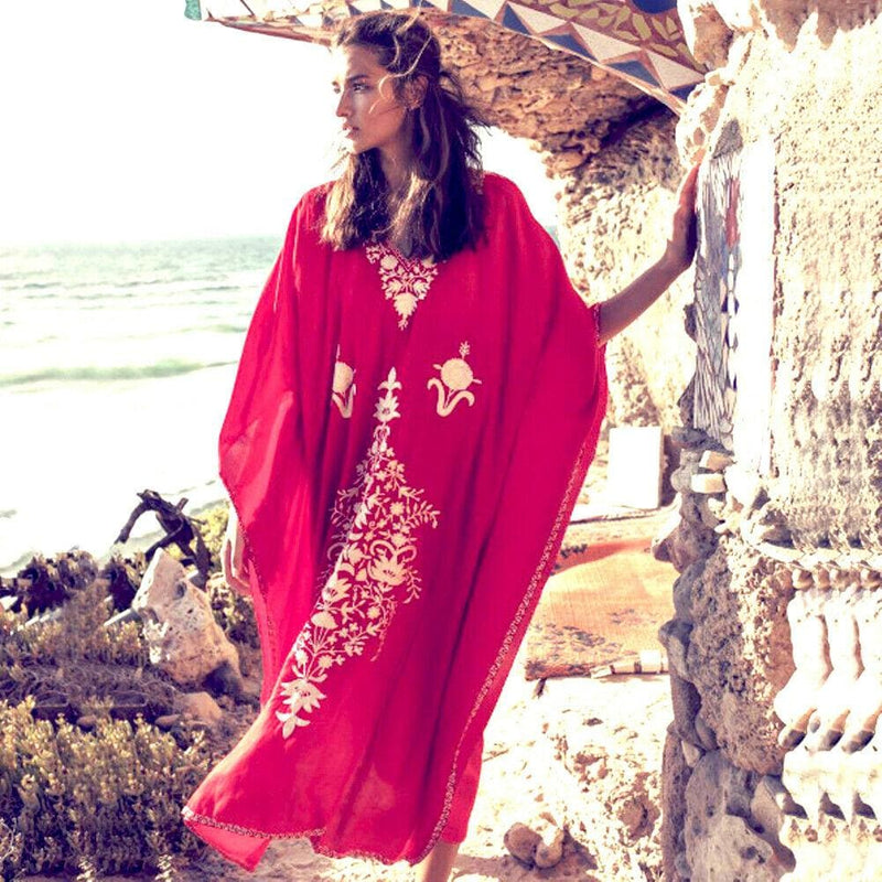 The Best Boho Women Ladies Kaftan Long Dress Women Casual Beach Swimsuit Bikini Cover up Caftan Maxi Gown Sundress Online - Hplify