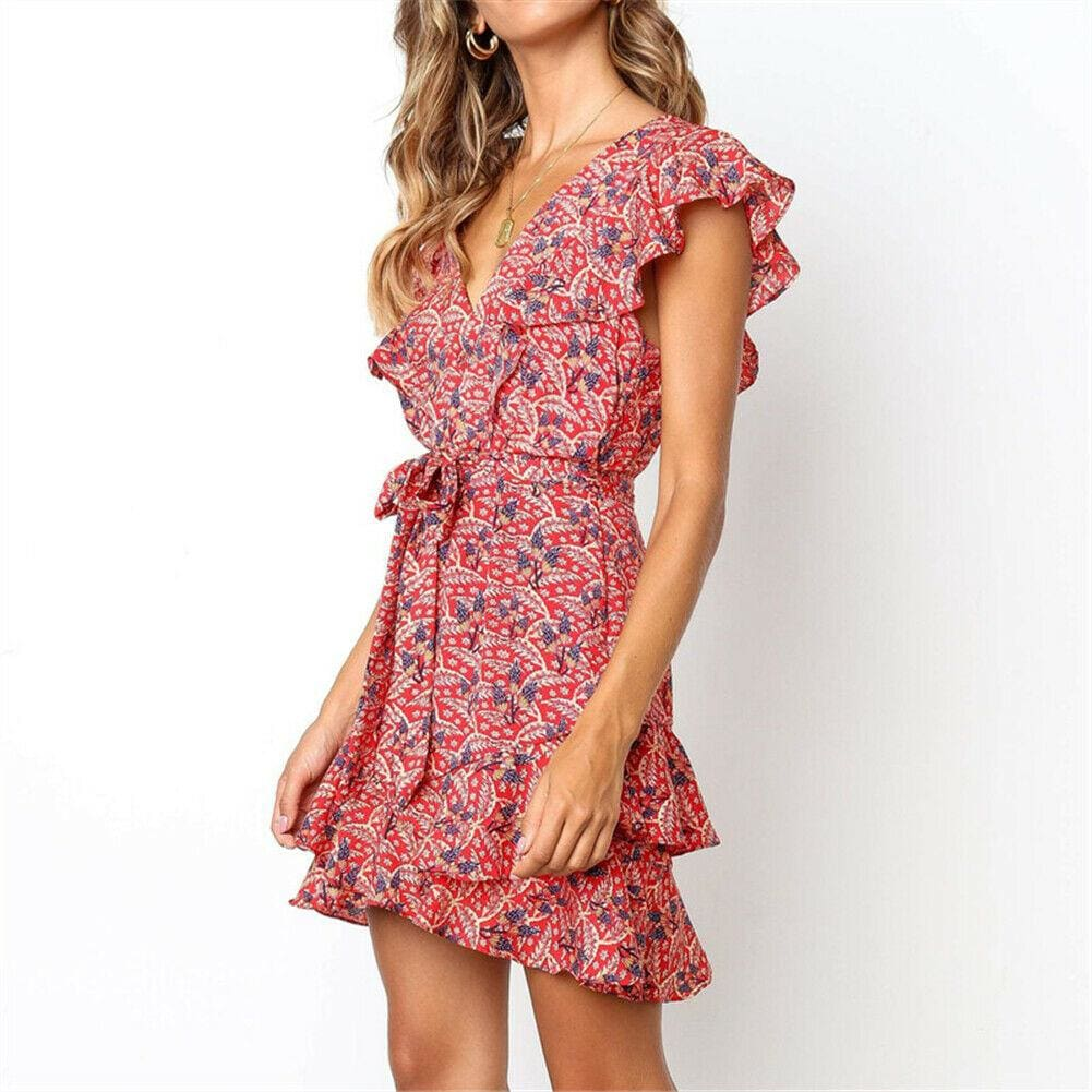 The Best Boho Women Ladies Summer Beach Mini Dress Fashion Floral Holiday V Neck Ruffle Sundress Casual Clothing New Online - Source Silk
