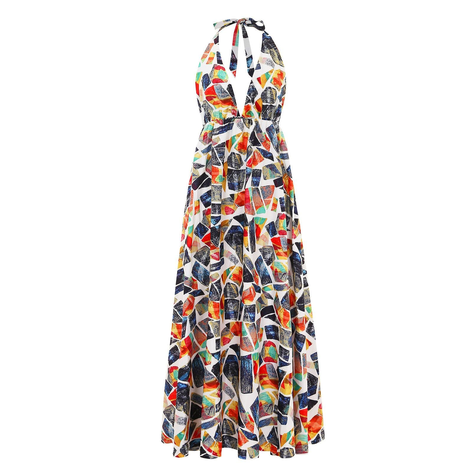 The Best Boho Women Sleeveless Halter V Neck Floral Sundress Ladies Summer Beach Holiday Strappy Backless Maxi Dress Online - Source Silk