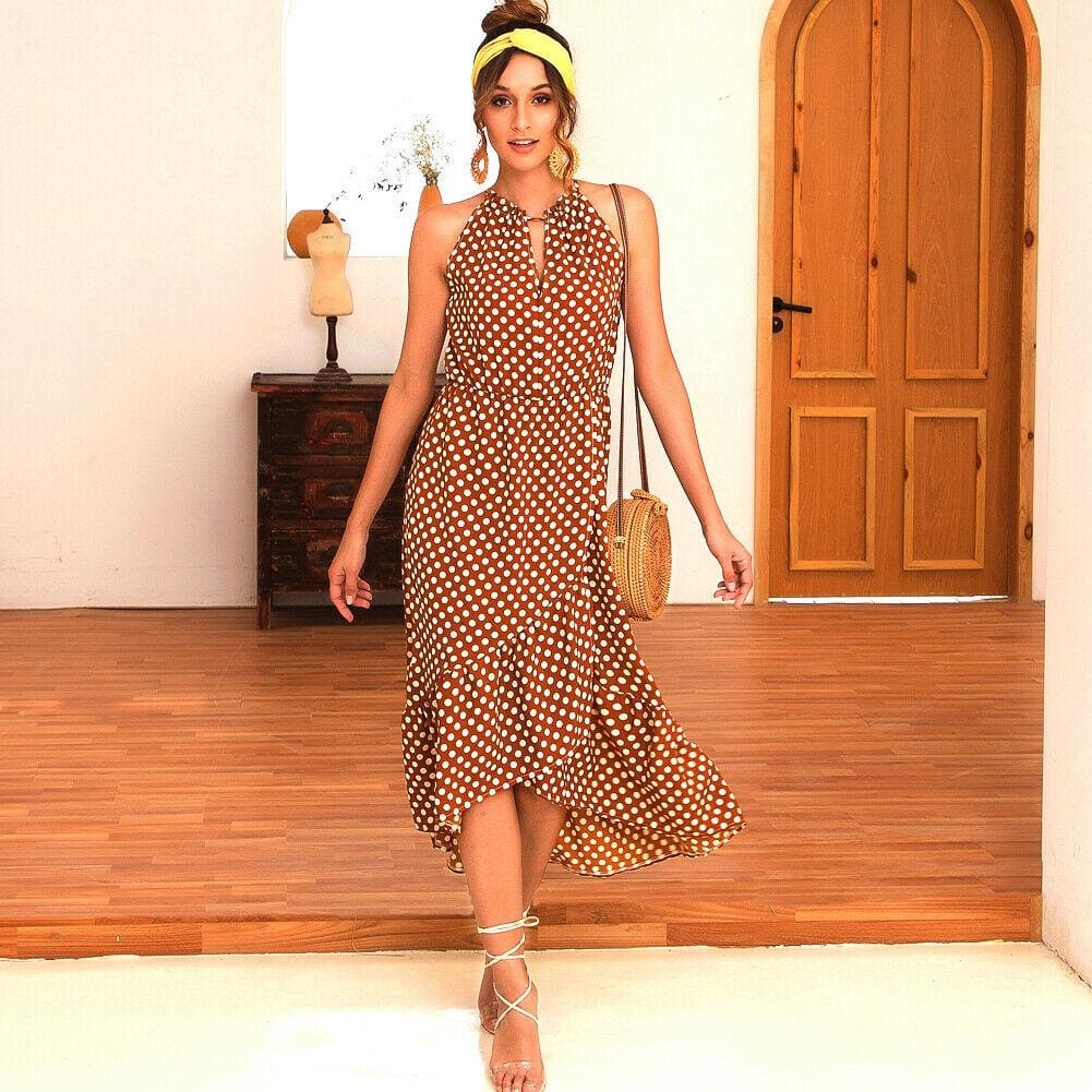 The Best Boho Women Summer Holiday Polka Dot Ruffle Dress Fashion Ladies Sleeveless Halter Neck Casual Dress Sundress Online - Source Silk