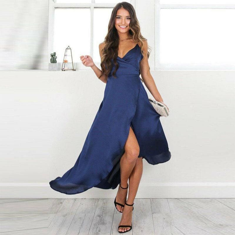The Best Boho Women's Maxi Formal Dress Elegant Ladies Sleeveless V-Neck Summer Evening Party Long Beach Sundress Wedding Gown Online - Source Silk
