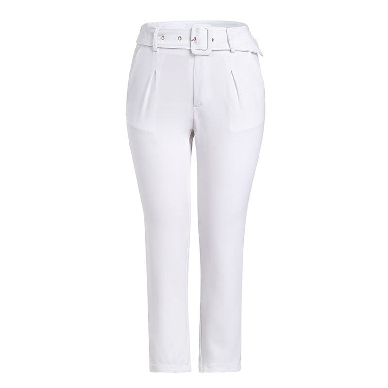 The Best Buckle belt trousers women pants loose work high waist suit pants Online - Hplify