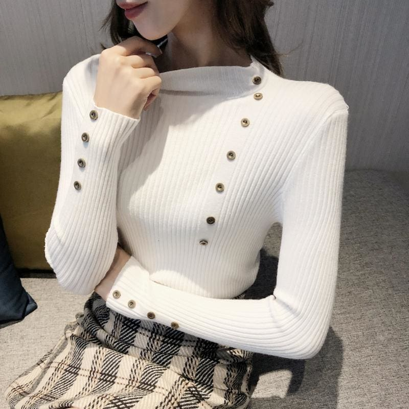 The Best Button Turtleneck Sweater Women Spring Autumn Knitted Pullover Sweater Online - Source Silk