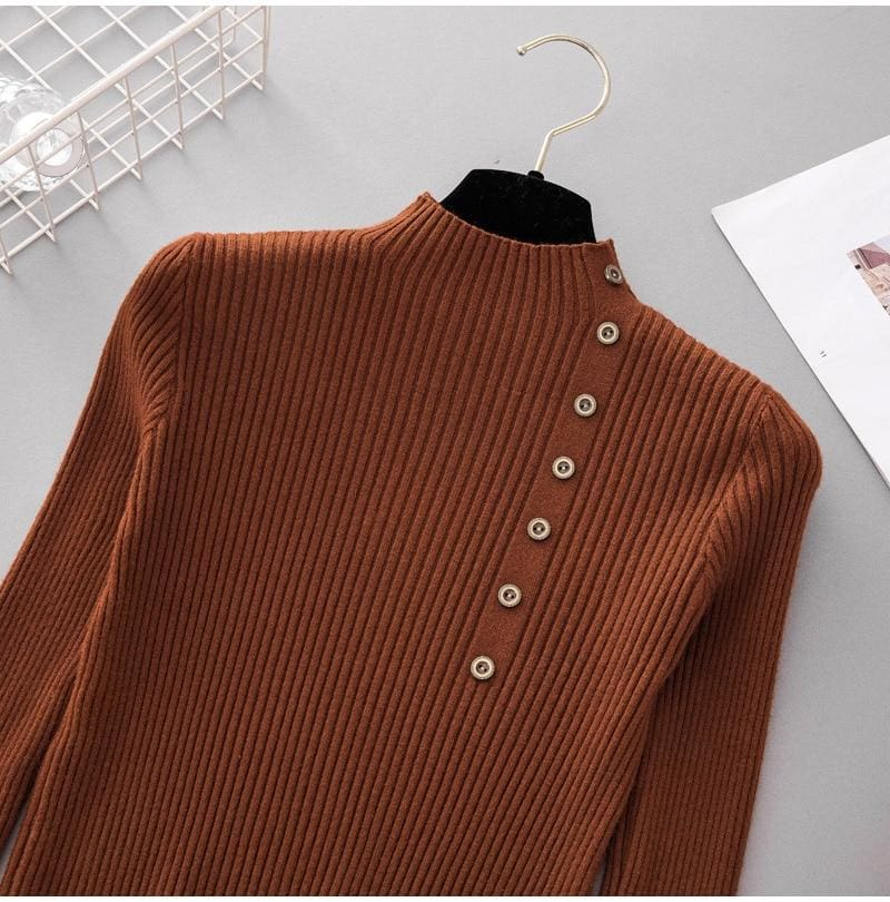The Best Button Turtleneck Sweater Women Spring Autumn Knitted Pullover Sweater Online - Hplify