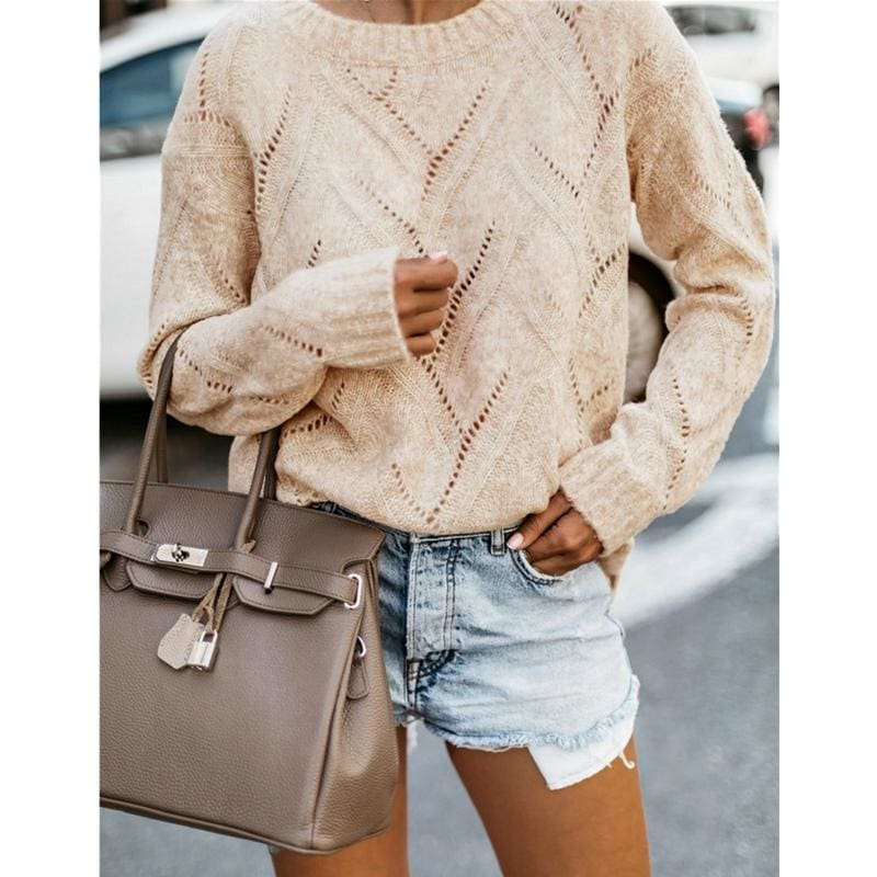 Casual Loose Warm Sweater Women Ladies Round Neck Knitted Openwork Jumper Pullover Tops - Khaki / S - Womens Clothing