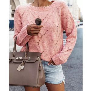 Casual Loose Warm Sweater Women Ladies Round Neck Knitted Openwork Jumper Pullover Tops - Pink / S - Womens Clothing