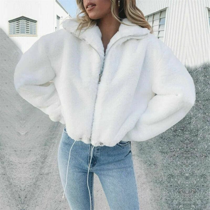 The Best Casual Short Solid Turn-down Collar Jacket Thick Faux Fur Zipper Jacket Teddy Coat Online - Source Silk
