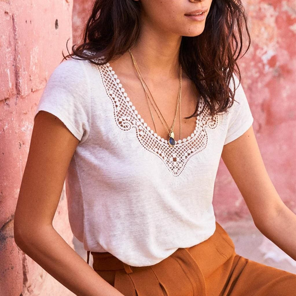 The Best Casual T shirt Women Short Sleeve Loose Shirt Fashion Ladies Summer Casual V neck Lace Top Shirt Women Clothing Online - Source Silk