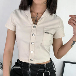 The Best Casual Tank Tops Vest Blouse Short Sleeve Solid Button Short Crop Shirt Online - Hplify