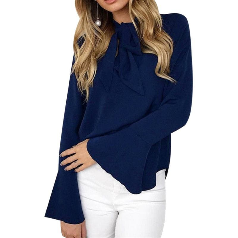The Best Chiffon Blouses Women 2019 Autumn Fashion Long Sleeve V-neck  Blouse Online - Hplify