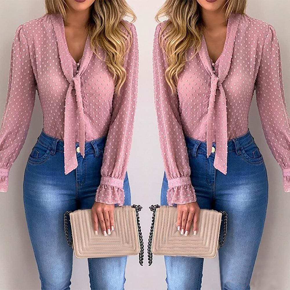 Chiffon Blouses Women 2019 Autumn Fashion Long Sleeve V-neck Blouse - Women Tops