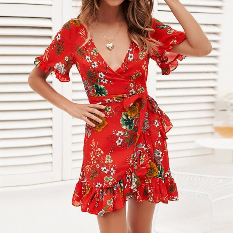 The Best Chiffon Mini Dress Women Boho Style Floral Print Summer Beach Dress Online - Source Silk
