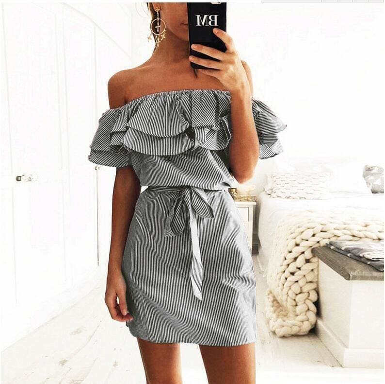 The Best Cloth Striped Sashes Summer Dress Ruffle Collar Bandage Casual Dresses Online - Source Silk