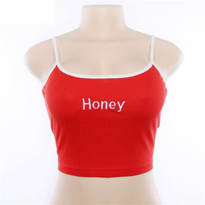 Cool Girls Honey Embroidery Women Fashion Sleeveless Basic Tank Top - Womens Tops