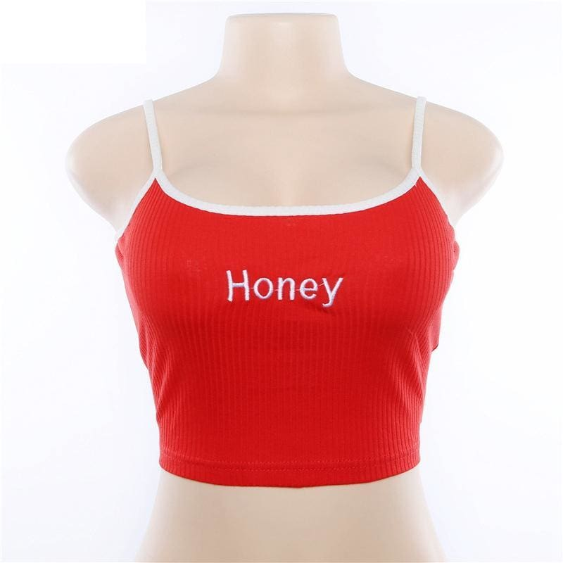 The Best Cool Girls Honey Embroidery Women Fashion Sleeveless Basic Tank Top Online - Source Silk