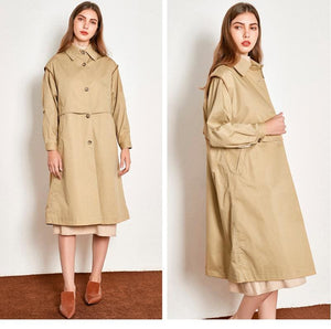 Cotton British Style Casual Style Long Trench Coat Ladies Jacket - Hplify