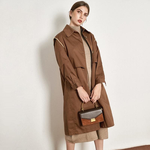 The Best Cotton British Style Casual Style Long Trench Coat Ladies Jacket Online - Hplify