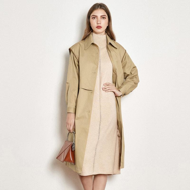 Cotton British Style Casual Style Long Trench Coat Ladies Jacket - Outercoat