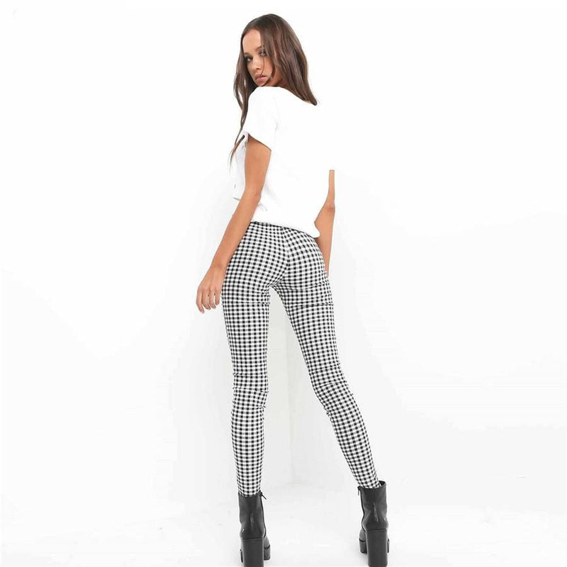 The Best Cotton Comfortable Women Plaid Pants Side Stripe Casual Elastic Pants Online - Hplify