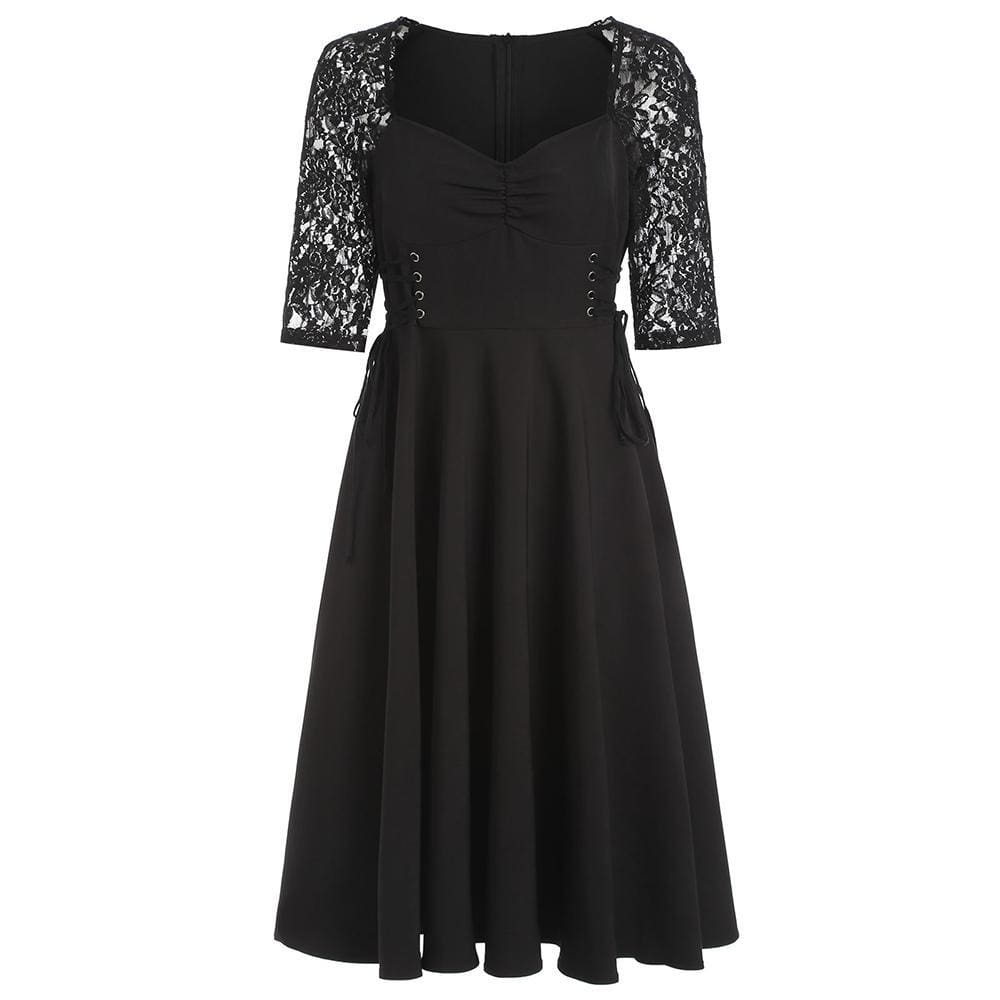 The Best Criss Cross Lace Sleeve Retro Flare Dress Online - Source Silk