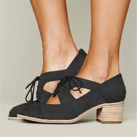 The Best Cutout Lace-up Low Heel Oxford Shoes Women Daily Loafers Online - Hplify