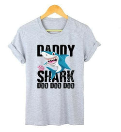 The Best DADDY&MAMA SHARK Women Men Cotton Short Sleeve Loose Top Summer Casual Crew Neck T-Shirt Tee Tops Online - Hplify