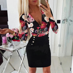 The Best Deep V Neck Dress Women's Sexy Floral Long Sleeve Bodycon Dress Fashion Lady Flowers Patchwork Short Dress Online - Hplify