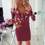 The Best Deep V Neck Dress Women's Sexy Floral Long Sleeve Bodycon Dress Fashion Lady Flowers Patchwork Short Dress Online - Source Silk