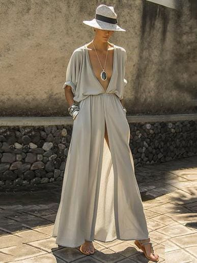 The Best Deep V-neck Maxi Shirtdress Online - Source Silk