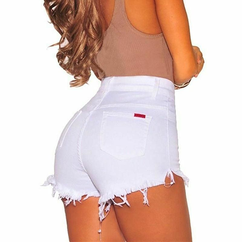 The Best Denim Shorts Women Summer Tassel High Waist Ladies Summer Sexy Bottoms Short Jeans Solid Casual Button Shorts Online - Source Silk