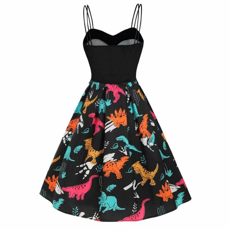 The Best Dinosaur Print Dual Strap Dress Online - Source Silk