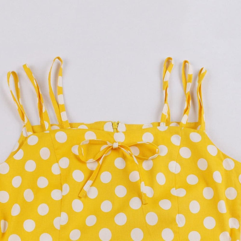 The Best Dot Print Vrouwen Zomer Party Dress Hoge Taille Vintage A-lijn jurk Online - Source Silk