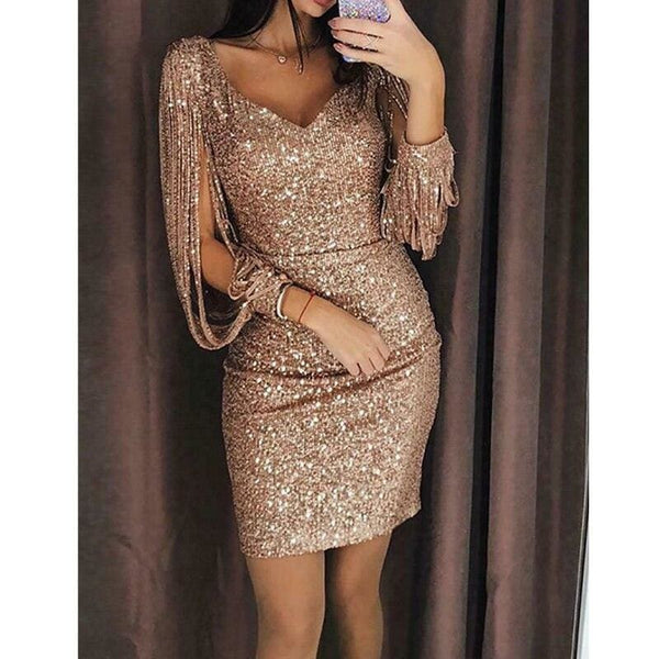 The Best Dress Newest Long Sleeve V Neck Tassels Bandage Dress Bodycon Evening Party Sequin MIni Dresses Clubwear Online - Hplify