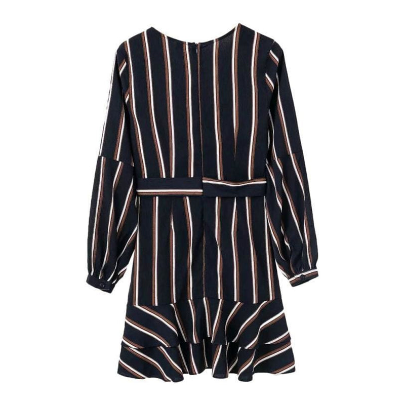 The Best Dress Women's Lantern Sleeve Striped V-Neck Dress Ruffle Mini Dress Online - Hplify