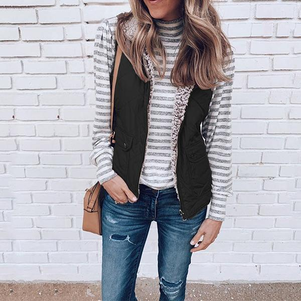 The Best Women's Fashion Zipper Double Sided Vest Online - Hplify
