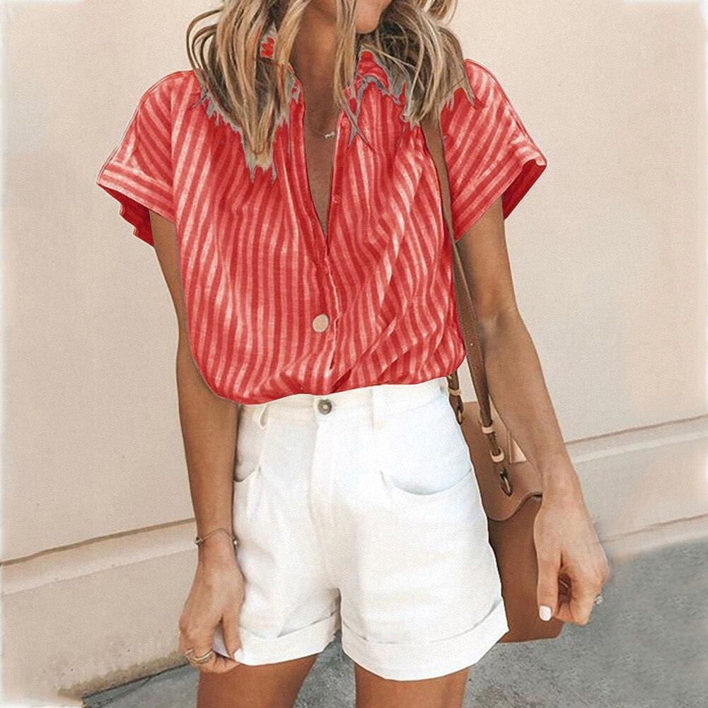 Elastic Knit Soft Summer Loose Women Shirt Casual Office Short Sleeve - Red / L - Womens Tops