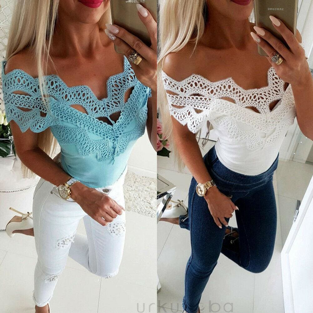 Buy Cheap Elegant Casual Off shoulder Lace Slim T-Shirt Top Ladies Sleeveless V-Neck Tops Sexy Slim Solid Shirts Online - Hplify