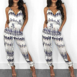 Elegant Fashion Lady Women Holiday Playsuit Romper Long Trousers Loose Jumpsuit Summer Beach Sleeveless V Neck Sexy Bodysuit - Hplify
